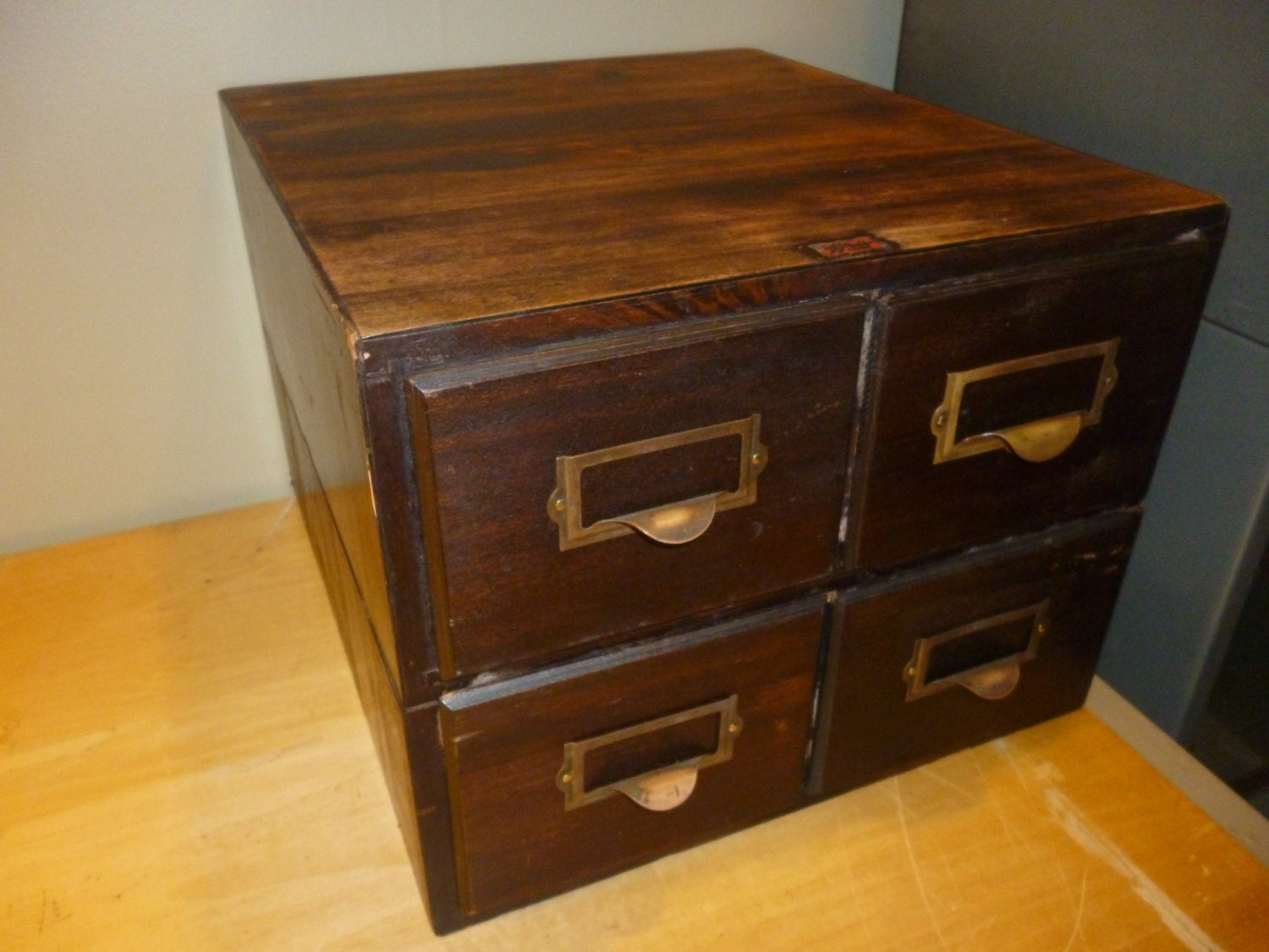 Stacking drawer wood library card catalog weis on sale