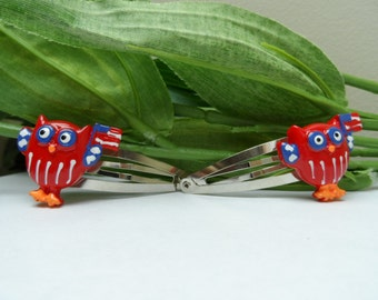 Patriotic Owl barrettes, Girls Barrettes, 4th of July barrettes,hair accessories, novelty  barrettes, owl hairclips