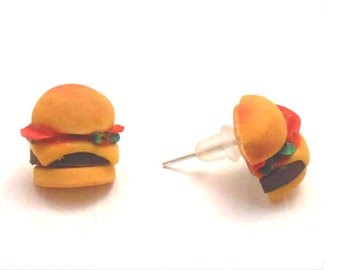 Handmade miniature hamburger earrings/ studs / jewelry/ dolhouse made out polymer clay (all my jewelry is nickel free!)