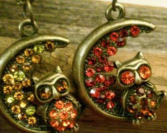 Bronze owl pendant necklace, rhinestone owl necklace, Owl sitting on the moon pendant, owl jewelry