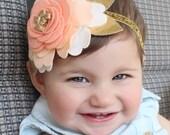 Felt Flower Headband , Baby Flower Headband , Photo Prop , Felt Flower Headband In Peach , Newborn Headband , Toddler Headband