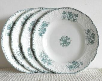 Ensemble de 4 assiettes à soupe en faïence Terre de Fer Saint Amandinoise Modèle Richelieu