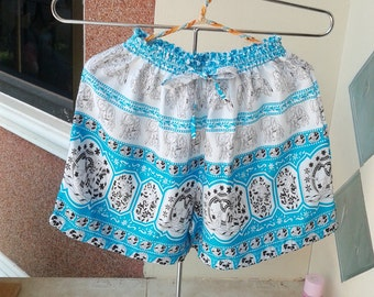 New Boho Hippie Shorts Pants  Summer Beach Women Shorts Light Blue Elephant Print Free Size #054