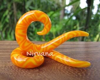 """Orange & Yellow Snake Style Thai Spirals Glass 10g 8g 6g 4g 2g 0g 00g 7/16"""" 1/2"""" 9/16"""" 5/8"""" 2.5 mm 3 mm 4 mm 5 mm 6 mm 8 mm 10 mm - 16 mm"""