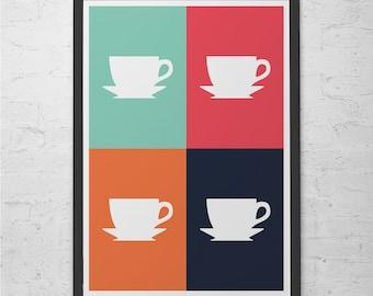 COFFEE POSTER  -  Coffee Shop Poster - Kitchen Wall Art Pop Art Poster Modern Kitchen Art Stylish Kitchen Home Decor