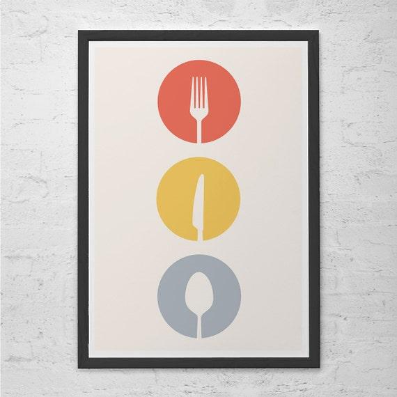 utensils kitchen art poster cutlery minimalist mid century modern art print giclee print ikea