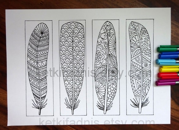 Coloring Bookmarks Feathers Pdf Download Bookmarks To