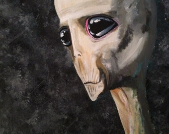 Timid Out-of-Towner....a fine art painting with a twist/alien