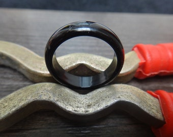 Natural Obsidian Ring  US ring size  6- 9  width  6mm