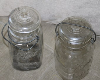 2 Clear Glass Canning Jars w Lids & Rustic Hardware. Vintage. Ball Ideal, Flower Vase, Wedding, etc Home Decoration and Very Collectible