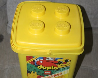 Vintage Duplo Preschool Building Blocks and Bucket, 83 Interlocking Blocks, The Set Listed on Box is Not what is Included, Fun, Educational