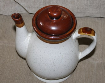 Vintage Brown and Cream Teapot, Made in Taiwan, Very Collectible, Ceramic, Useful for Tea, Coffee, Home Decor, No Name Pottery, Glazed w Lid