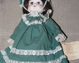 Porcelain Doll w Cotton Body, Hand Painted Face, Nice Hair, Hat and Original Dress w Lace & Bloomers, Early 1900s Clothing, Very Collectible