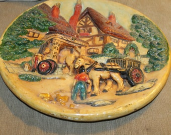 HALF PRICE SALE This Decorative Plate is More Than That, It is a Piece of Art, Picture of House w a Barn, 2 Horses, Carriage, Red Roofs,