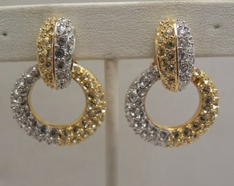 Vintage NOLAN MILLER Yellow & Clear Rhinestone Convertible Earrings