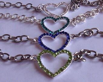 Crystal heart Bracelet choose your color