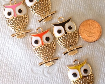 Gold tone owls with accent color, charm for necklace or earrings. This is for 1 owl only.