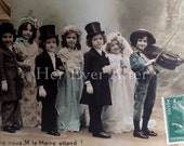 Young Love // Original antique French RPPC wedding postcard // Charming vintage colored photo postcard of wedding party & violin player