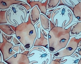 Large hand drawn stickers- Magical deer