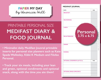 Medifast Journal PDF - Medifast Food Diary - Printable food diary for Filofax Personal, Kikki K Medium planners