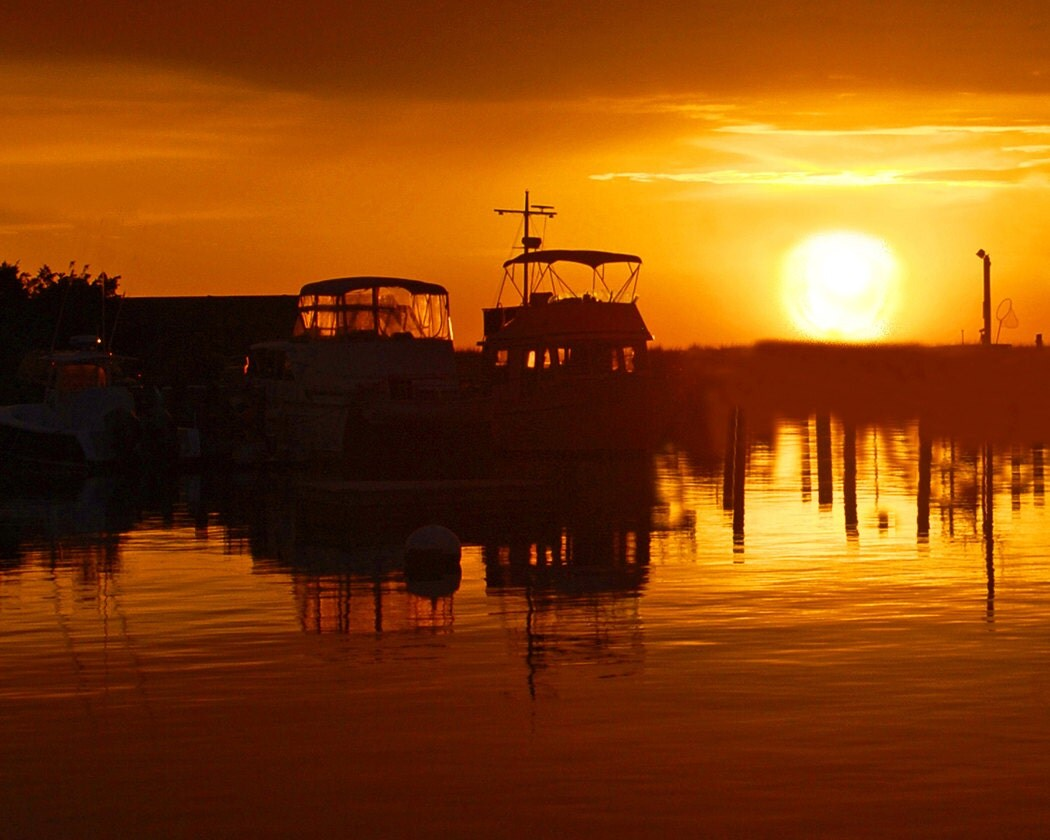 Sunset Over Water Fine Art Photography Wall Photo Print Boat