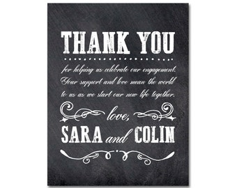 Engagement Party Thank You Card with hand-drawn flourishes - A2 (4.25x5.5) - Vintage Blackboard - Printable and Personalized