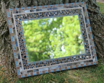 Mosaic Wall Mirror - Brown, blue and taupe