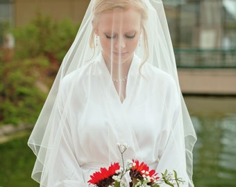 Two Tier Cascading Fingertip Veil with Blusher, veil with blusher, simple two tier veil, fingertip veil with blusher