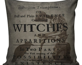 Cushion Pillow Halloween Raven Witch Cotton and Burlap HA-15 RavenQuoth All Hallow's Eve Home Decor