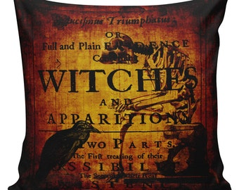 Cushion Pillow Halloween Burnished Witches Cotton and Burlap #RQ0042 RavenQuoth All Hallow's Eve Home Decor
