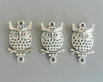 Owl Charms Antique Silver Tone Night Owl Pendant for DIY Jewelry Accessories Bracelet Necklace Metal Charm 14*26mm 696