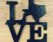 LOVE Wall/Door Decoration with Texas Shape, Unfinished Wood, Laser-Cut, Other States Available