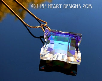 Fine Crystal CELTIC CROSS Aurora Borealis Pendant, Suncatcher or Car Charm on 24k Gold Plated Chain Lilli Heart Designs