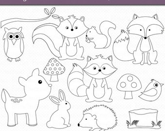 woodland animals outline digital art set clipart commercial use clip art woodland animal clipart forest animals - Animal Outlines To Color