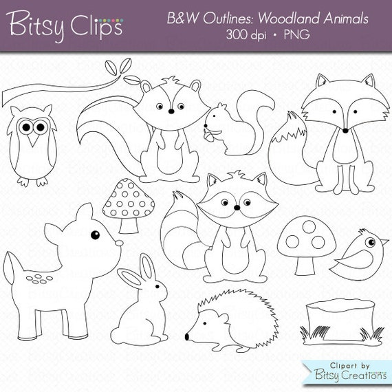 Line Drawings Of Woodland Animals : Woodland animals outline digital art set clipart commercial