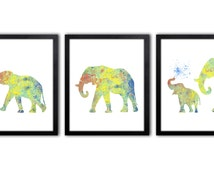 Boy Nursery Art - Elephant Nursery Decor - Set of Three