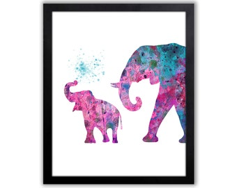 Cute Elephant Decor, Elephant Art Print, Mom And Baby Elephant - EL058