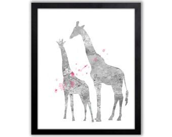Kids Giraffe Decor, Pink And Gray, Giraffe Art Print - GI013