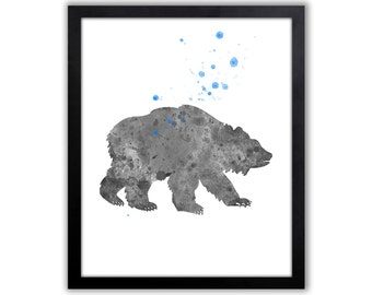 Woodland Animal Art, Bear Painting, Watercolor Bear Art For Boys Room, Limited Edition Art Print