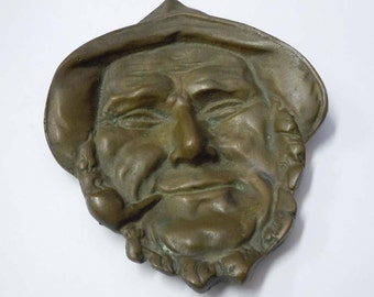 High Relief Bronze Fisherman w Pipe Sculpture Ashtray C1900