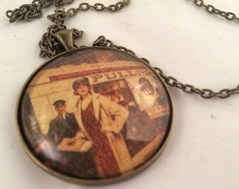 20's Gal at Train Station - Glass Pendant with Chain