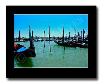 Venice, Italy travel photography. 11x14 black matted 8x10 print. Gift idea. Gondolas of Italy. EPSTeam. Home decor. Hand signed.