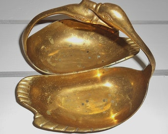 Vintage Solid Brass Swans His and Hers Ring Dish