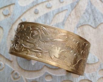 Embossed brass cuff bracelet, etched cuff, etched metal cuff, destash, women, jewelry, bracelet, cuff, metal cuff, floral
