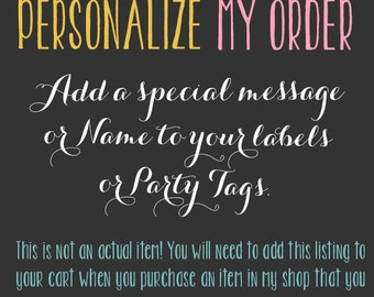 Personalize my order