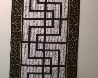 Quilted Table Runner, Black, White, Gold