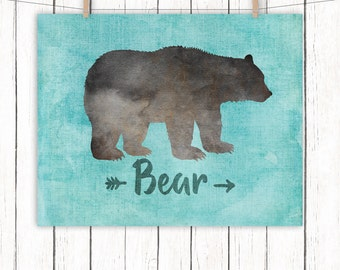 Woodland Animal Nursery Printable Art Bear Nursery Art Print Blue Wall Art, 8 x 10 Instant Download