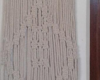 "Free shipping Macrame wall hanging /hanger/decor/ Rope art / 10"" x 33""  100% natural ecru cotton,  4mm cord, creame,medium sized"