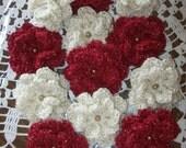 Set of 12,Flowers,Crochet,Deep Red,Cream,Decoration,Clothing,Crafts,Scrapbooking,Headbands,Crimson