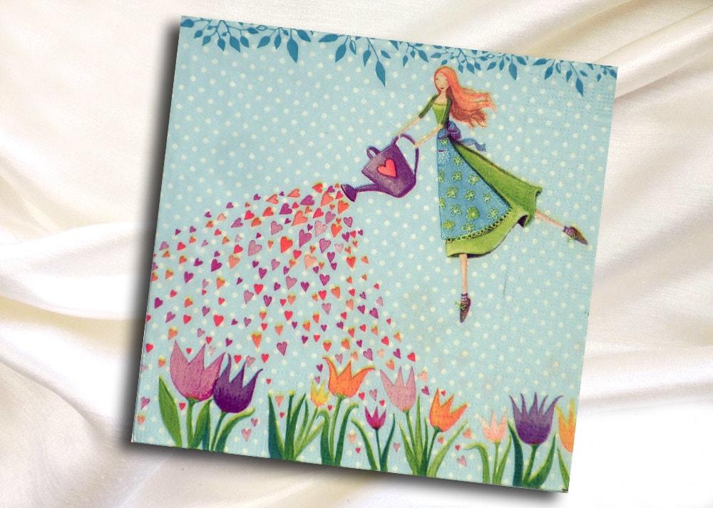 Paper Napkins For Decoupage Garden Fairy Flowers Spring
